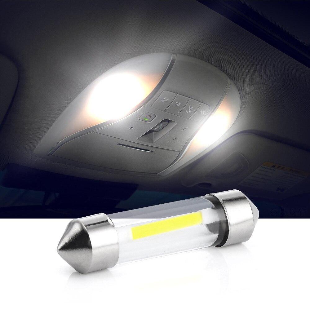 10 sztuk 12V C5W COB żarówki led samochodowe wnętrze Festoon lampa kopułowa do czytania źródło biała strona lampka tablicy rejestracyjnej 41mm 39mm 36mm 31mm