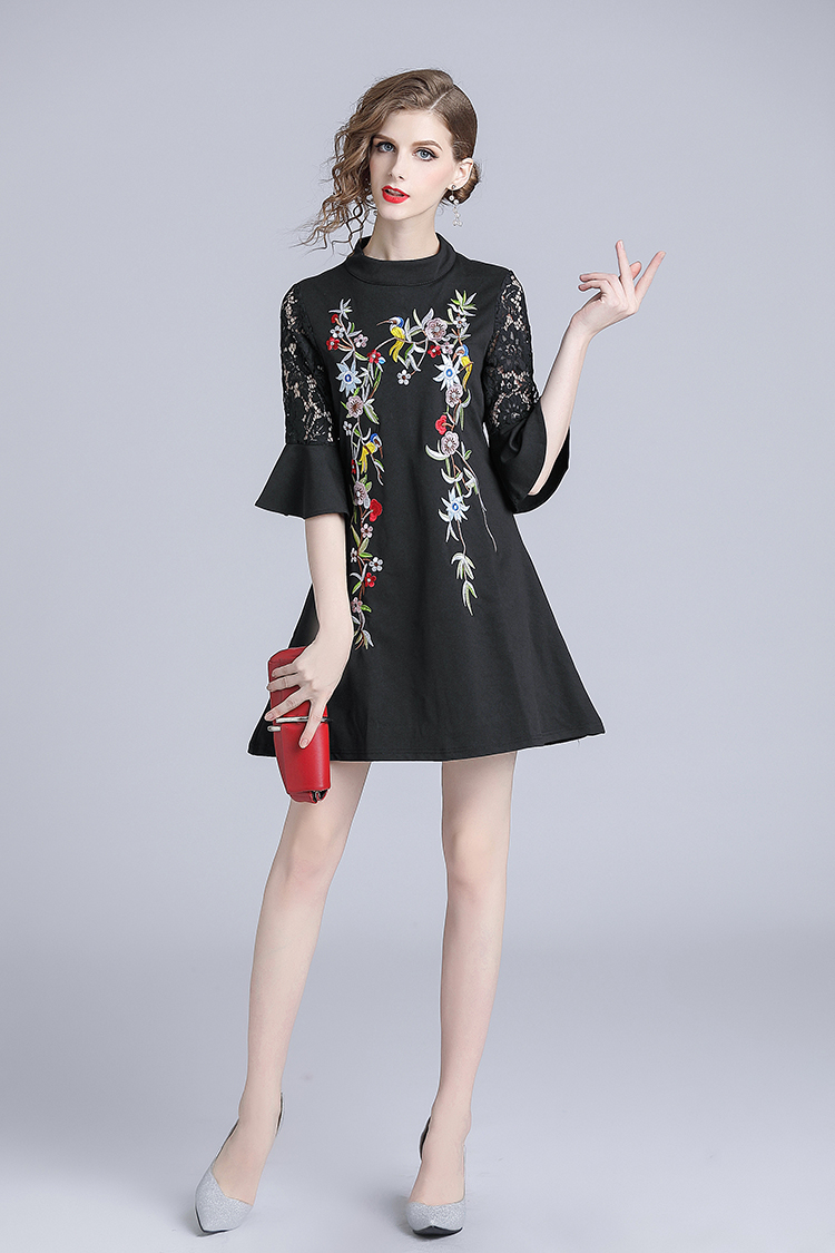 us $22.43 19% off|autumn black floral embroidered dress vestido invierno  mujer 2020 ukraine horn sleeve women dress damen kleider k6388|dresses| | -