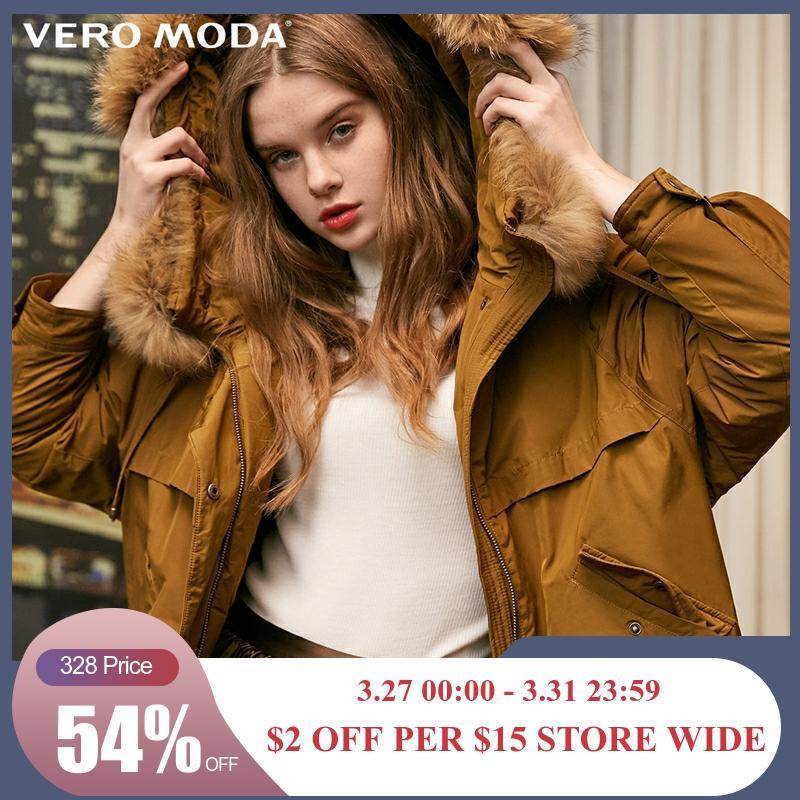 Vero Moda New Women's Detachable Raccoon Fur Hooded Down Jacket | 318323501