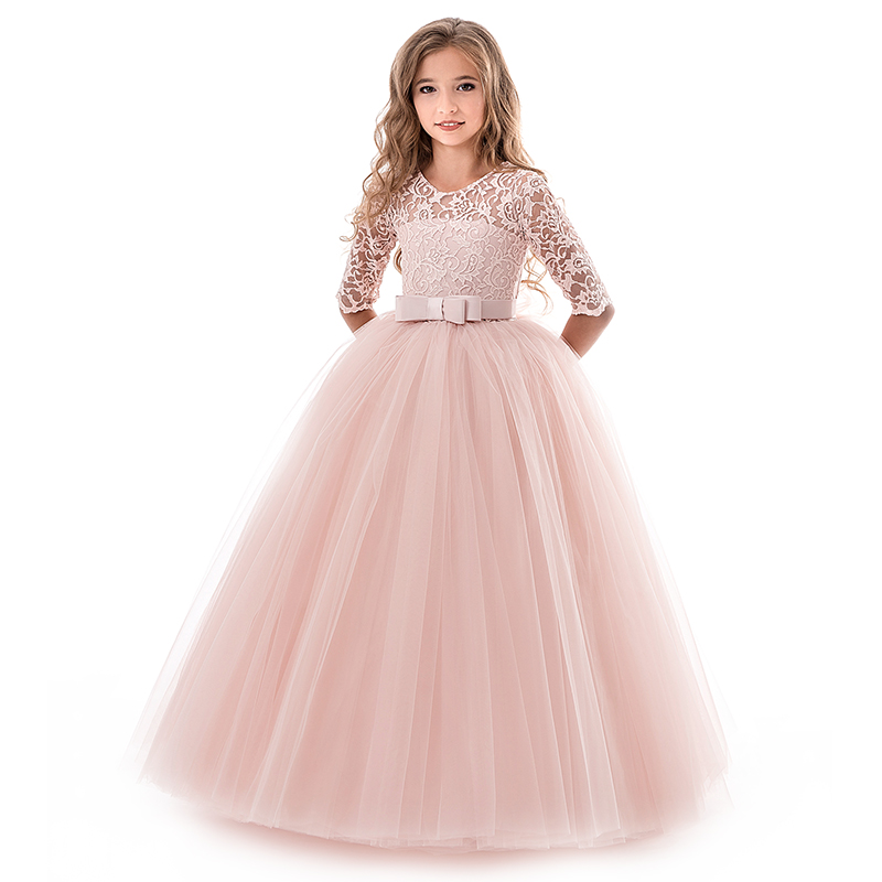 New Princess Lace Dress Kids Flower Embroidery Dress For Girls Vintage Children Dresses For Wedding Party Formal Ball Gown 14T 2