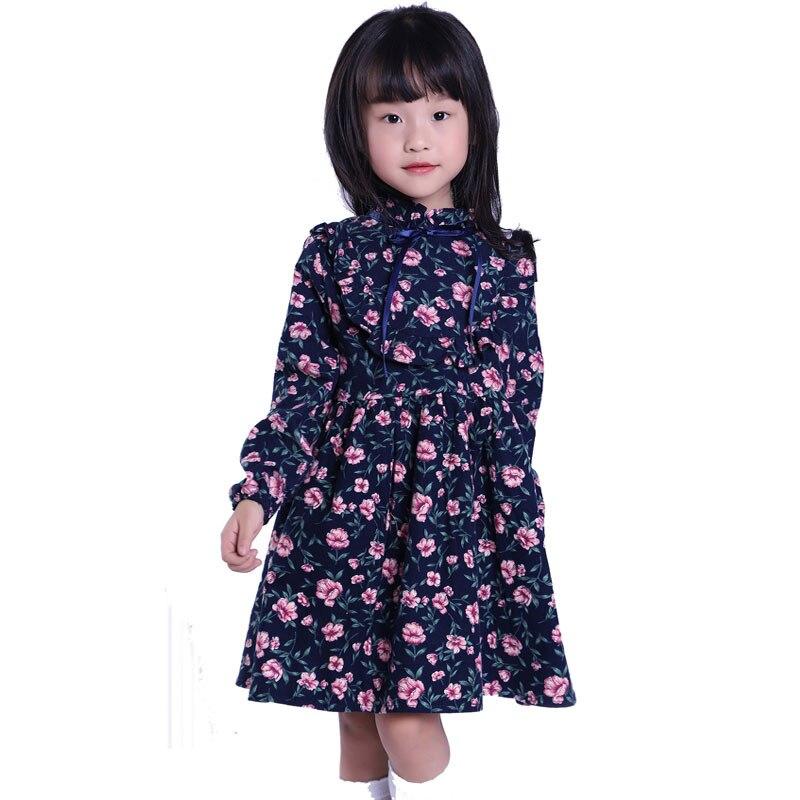 Fashion Girls Clothing Autumn Girl Dress Floral Children Dress Cotton Long Sleeve Kids