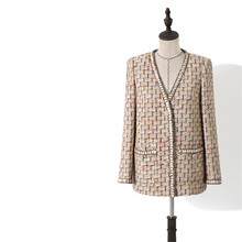Handmade Luxury Blazer Suits for Women Vintage V Neck Plaid Tweed Loose Blazers