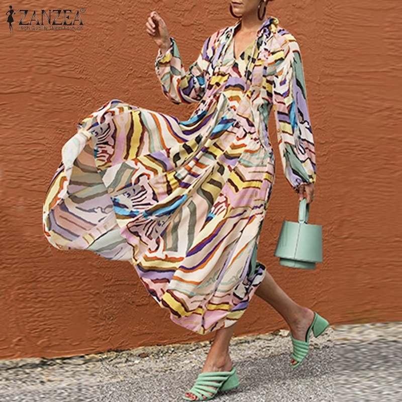 Fashion Womens Long Maxi Dress ZANZEA Elegant Print Vestido Female Puff Sleeve Robe Femme Chic V Neck Drawstring Kaftan Oversize