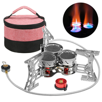 Outdoor Stove 8000W Windproof Camping Stove with Gas Cartridge Adapter Gas Burner For Camping Hiking Traveling
