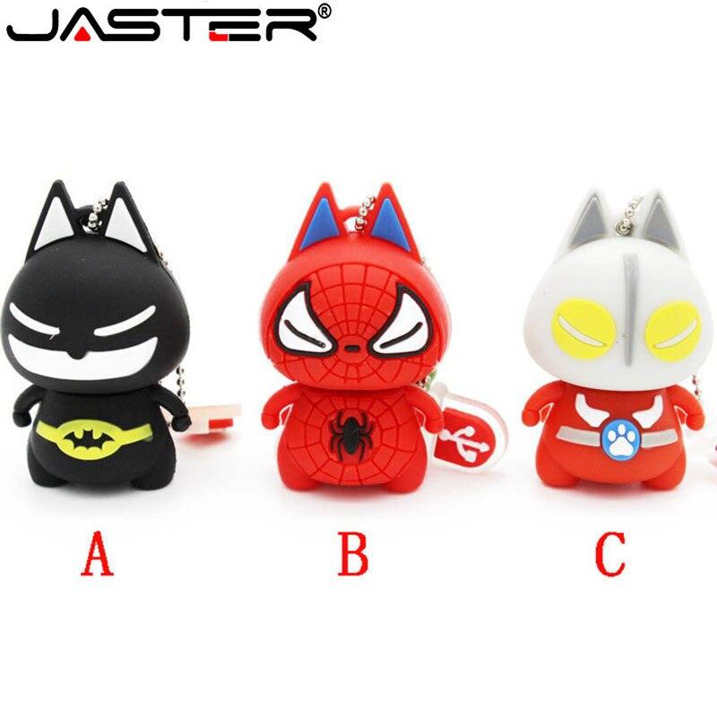 JASTER Cartoon 64GB Cute Batman Spiderman USB Flash Drive 4GB 8GB 16GB 32GB Pendrive USB 2.0 Usb Stick