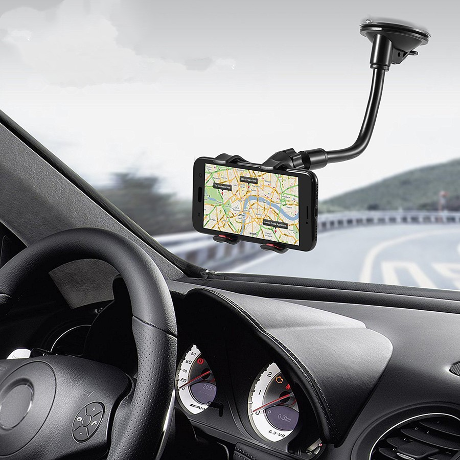 Car-Holder Support Gps Rotation-Mount Mobile-Phone-Stand Flexible 360-Degree Windshield title=