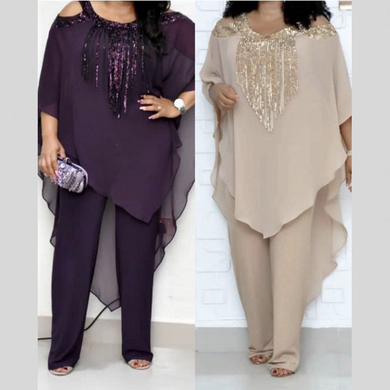 African Set For Women 2020 Spring Summer Sexy Fashion African Beauty Sequined Plus Size Two Pieces Sets Blouse And Jumpsuit