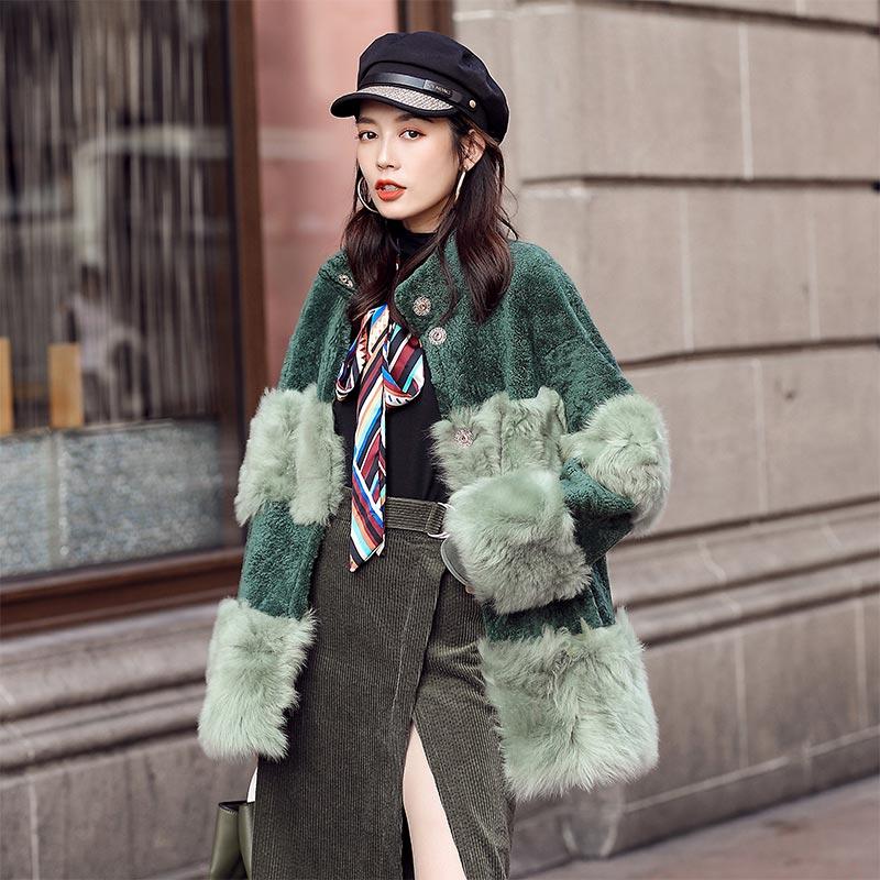 Natural Sheep Fur Coat Women Long Winter Real Fur Jacket Double-faced Fur Luxury Shearling Coat Genuine Leather Casaco YY1740