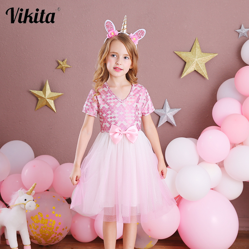 VIKITA Girls Dress Elegant Children Party Princess Dress Wedding Birthday Party Prom Vestidos Wear Kids Bow Dresses for Girls 1