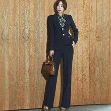New autumn winter OL professional temperament slim suit jacket + micro pants long