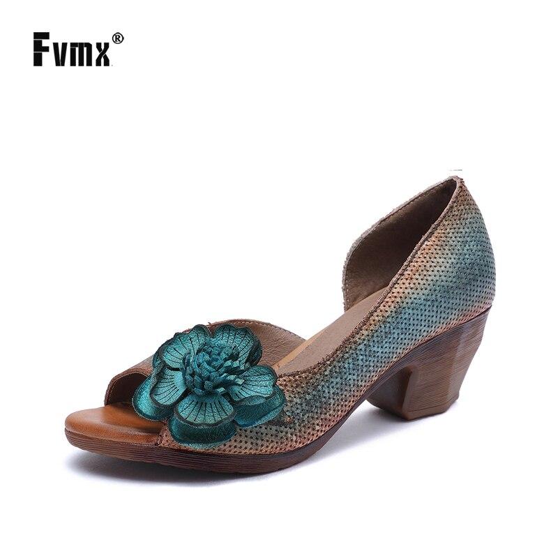 FVMX, sandalias para mujer de cuero genuino 2020, nuevas a la moda, primavera y verano, flores, hechas a mano, zapatos de mujer cómodos de tacón grueso viejo Nuevas botas a la moda para mujer, tacón de aguja, puntiagudas, botas de tacón alto largo de piel sin cordones, zapatos formales con tacón