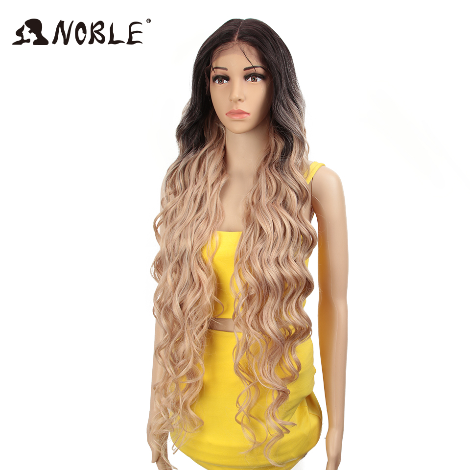 Image 4 - Noble Synthetic Lace Front Wig ombre blonde Wig 42 inch Pink american Long Deep wave Wig Cosply Synthetic Wigs For Black Women-in Synthetic None-Lace  Wigs from Hair Extensions & Wigs