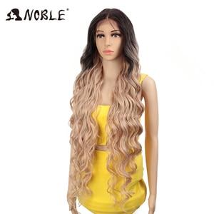Image 3 - Perucas sintéticas de cosply da onda profunda longa americana cor de rosa da peruca da parte dianteira do laço sintético nobre ombre peruca loira 42 polegada
