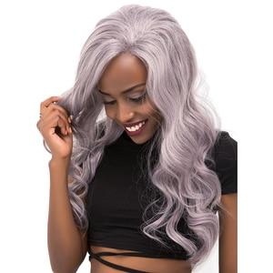 Image 5 - כסף פלטינה צבע תחרה מול סינטטי שיער פאות עם תינוק שיער X TRESS ארוך טבעי גל משלוח/צד חלק תחרה פאה לנשים