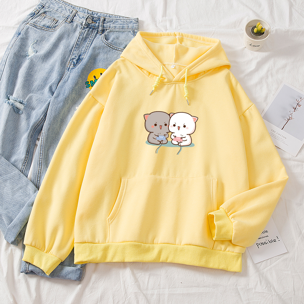Cute Cat Printed Hoodies Women Autumn Loose Sweatshirt Female Itself Harajuku Kawaii Hooded Pullover Thicken Couple Coat 14
