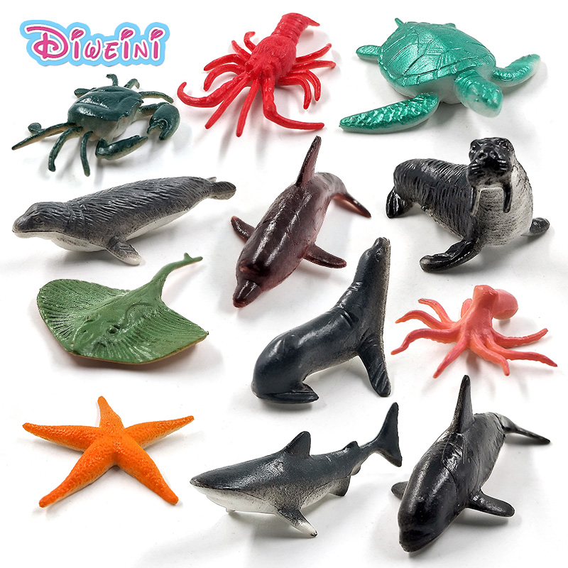 12pcs Simulation Lobster Turtle Crab Starfish Walrus Dolphin Octopus Shark Whale Seals Skate Sea Lions Animal Model Action Figure Educational Hot Toys Set For Children Kids Boys Girls