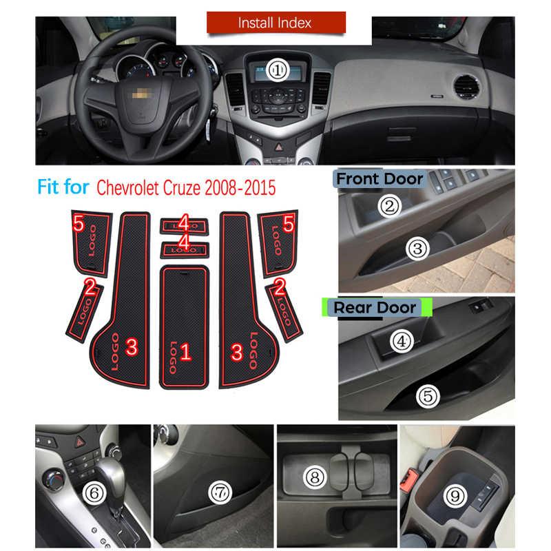 Anti-Slip Gomma Cancello Slot di Tazza di Zerbino Per Chevrolet Cruze 2008 ~ 2015 Porta Scanalatura Zerbino Holden J300 2009 2010 2011 2012 2013 Adesivi