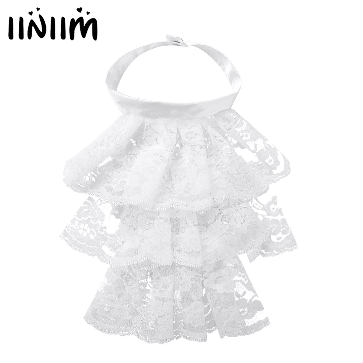 Iiniim Womens Femme Victorian Renaissance Detachable Ruffled Lace Jabot Neck Collar Stage Party Steampunk Costume Accessory