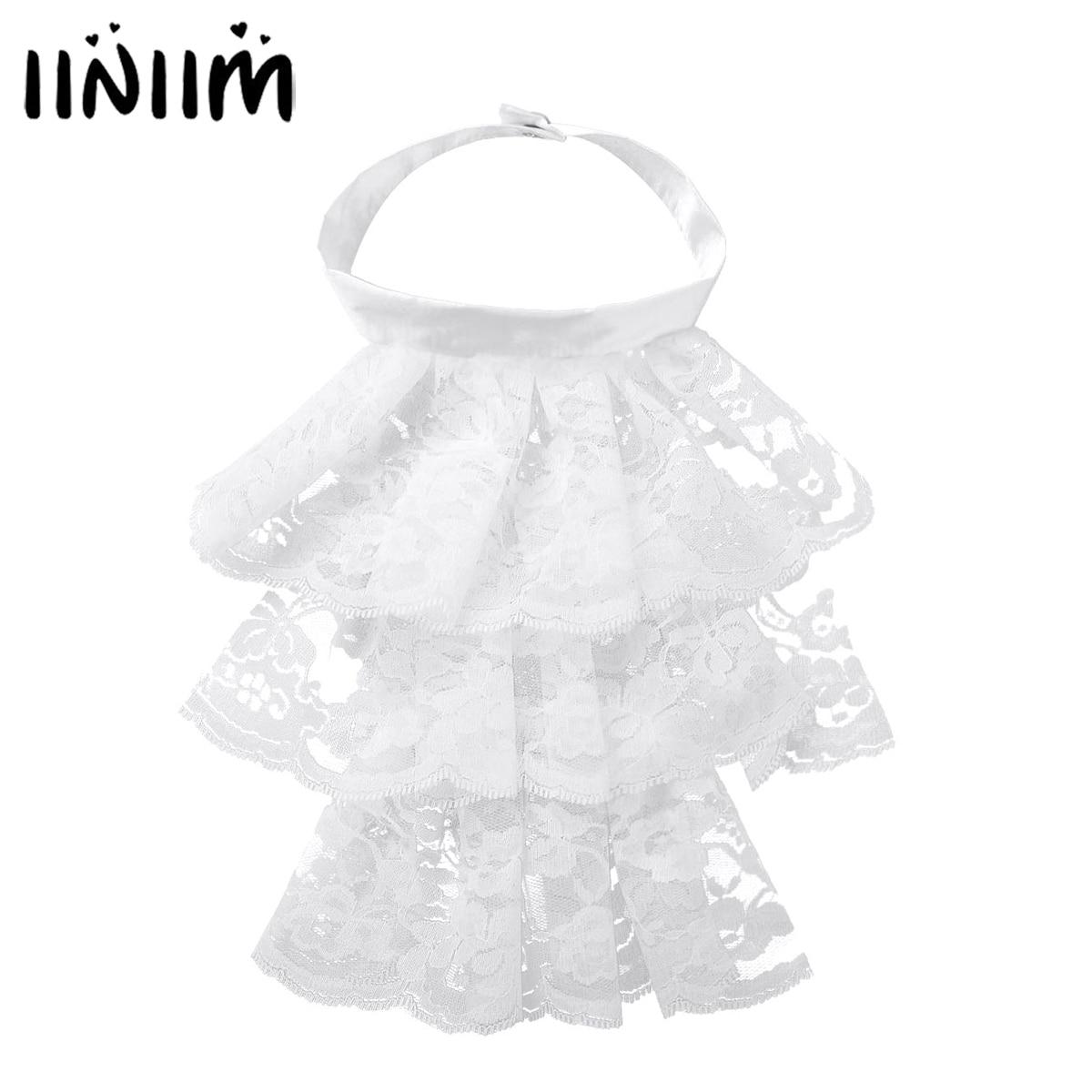 Iiniim Womens Femme Victorian Renaissance Detachable Ruffled Lace Jabot Neck Collar Stage Party Steampunk Costume Accessory