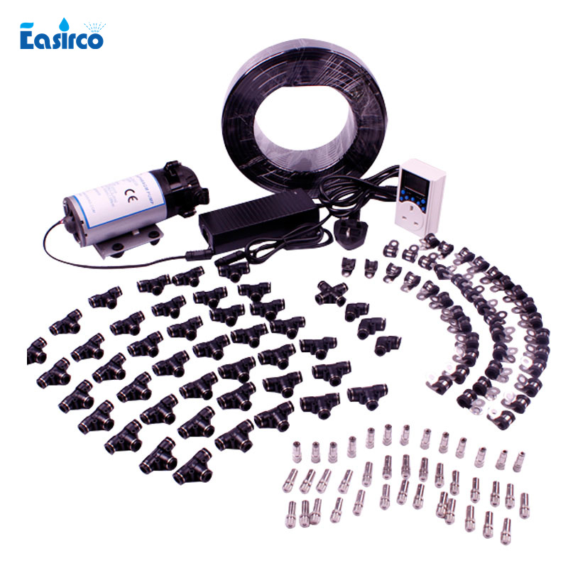 (Water source from water tape)60pcs Mist Nozzle+150 psi  pressure diaphragm pump  aeroponics system Mist cooling system.