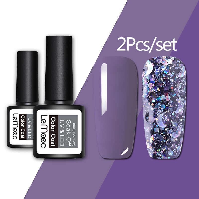 Lemooc Gel Nagellak Set 8Ml Kleurrijke Led Nagel Gel Lak Semi Permanente Nagellak Nail Glitter Kleur Gel