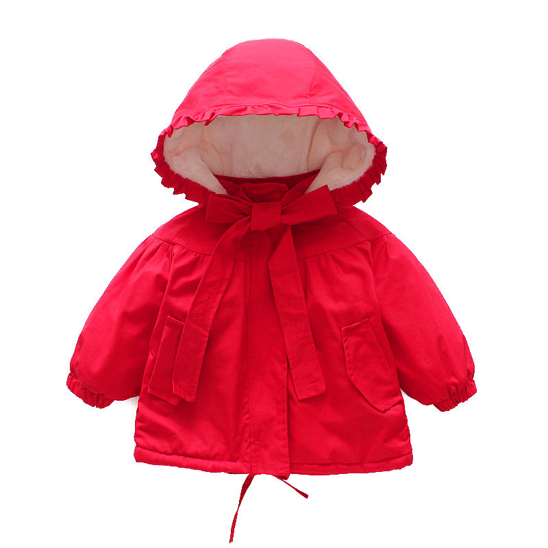 Red Coat Girls Hooded Bow Jacket Winter Cartoon Baby Toddler 2019 Autumn for Girl Outerwear