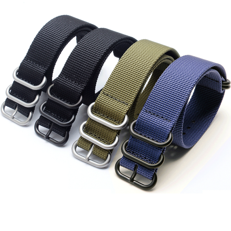 PEIYI 18mm 20mm 22mm 24mm 26mm Five Ring watchband black blue orange army green  strap for men's sports canvas wristband