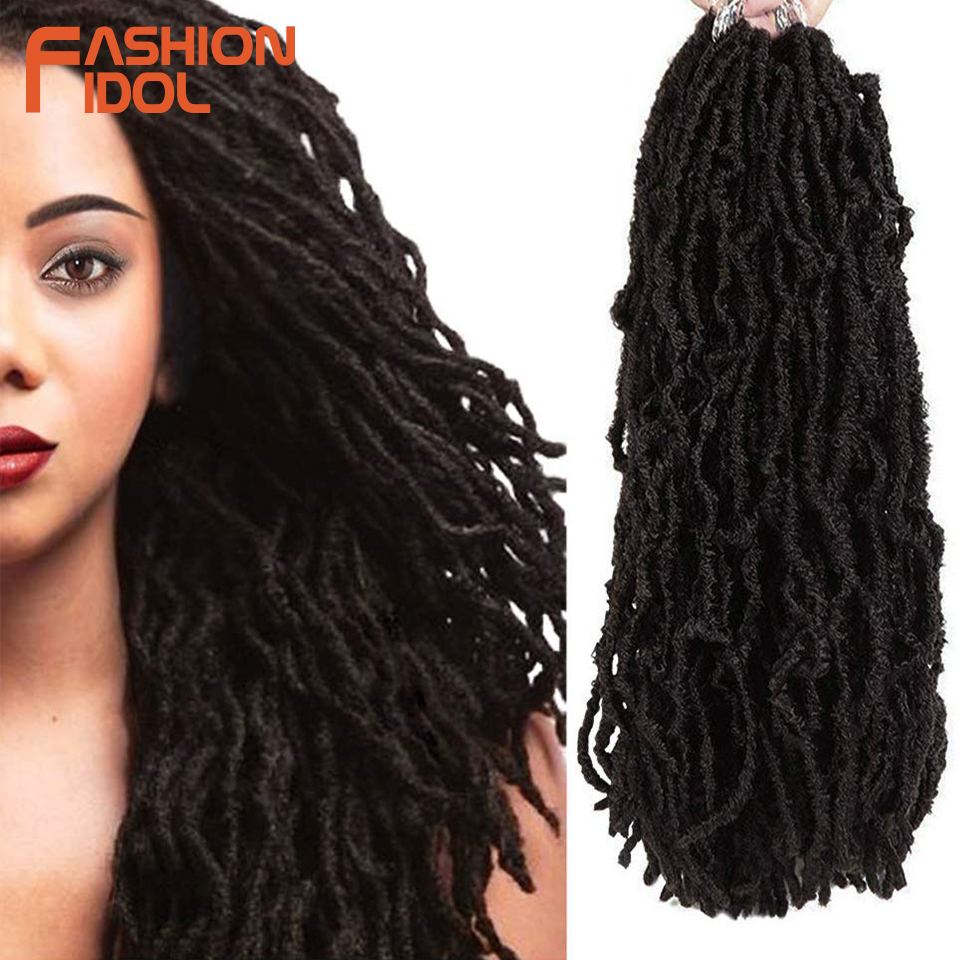 FASHION IDOL Nu Locs Crochet Hair 18 Inch Long Black Soft Goddess Faux Locs Crochet Hair Natural Wavy Dreadlock Hair Extensions