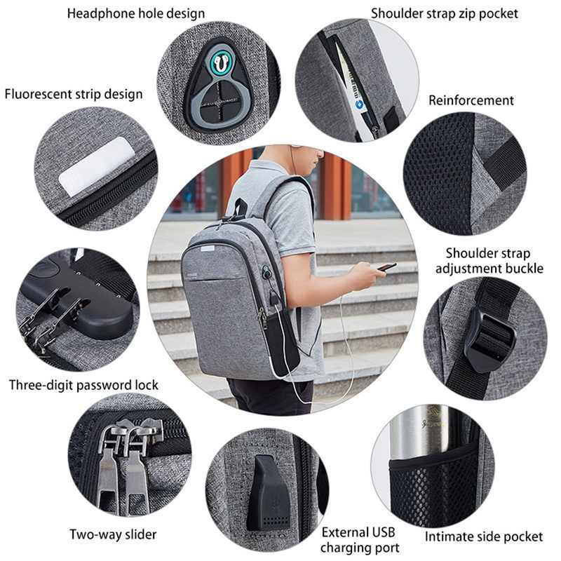 Sạc USB Laptoptravel Ba Lô Chống Trộm Dành Cho Nữ & Du Lịch Làm Việc Chống Nước Ba Lô Laptop Đi Học Túi