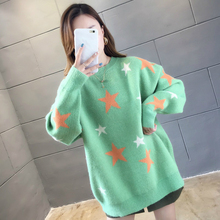 лучшая цена Women O-Neck Sweater Loose Knitted Ladies Sweater Harajuku Autumn Winter 2019 Casual Solid White Sweater Print Star Pullovers