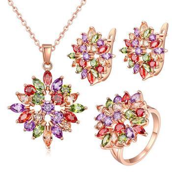 Conjuntos de joyas de circonita de flores Multicolor brillantes de lujo collares de oro rosa conjuntos de pendientes y anillos para la novia Bijoux Mariage Parure