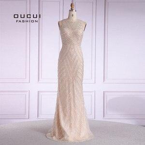 Image 1 - Women Trumpet Mermaid Evening Dress 2019 Long Robe De Soiree Vintage Sleeveless Beading Evening Gown Vestido De Noiva OL103621