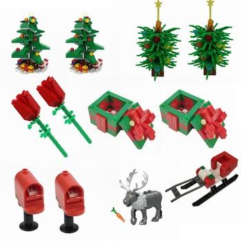 Blokowanie świąteczne pudełko na prezenty czerwona róża choinka ełk skrzynka pocztowa MOC zestawy do budowania zabawek dla dzieci twórca DIY zabawki sceny części tanie i dobre opinie Z tworzywa sztucznego Unisex MOC Parts Creator City Scenes 1 300 Film i telewizja Made IN China MOC Parts Christmas Gifts