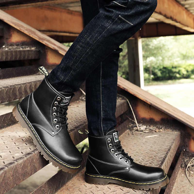 Unisex çizmeler yüksek kaliteli İngiliz erkek botları sonbahar kış ayakkabı erkekler moda dantel-up Boots deri erkek Botas Vintage erkek ayakkabıları