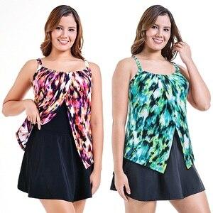 Image 3 - PERONA Women Plus Size Swimsuit Tummy Control Tankini Set Ruched Swimwear Push Up Swimdress Retro Beachwear Bathing Suits S 10XL