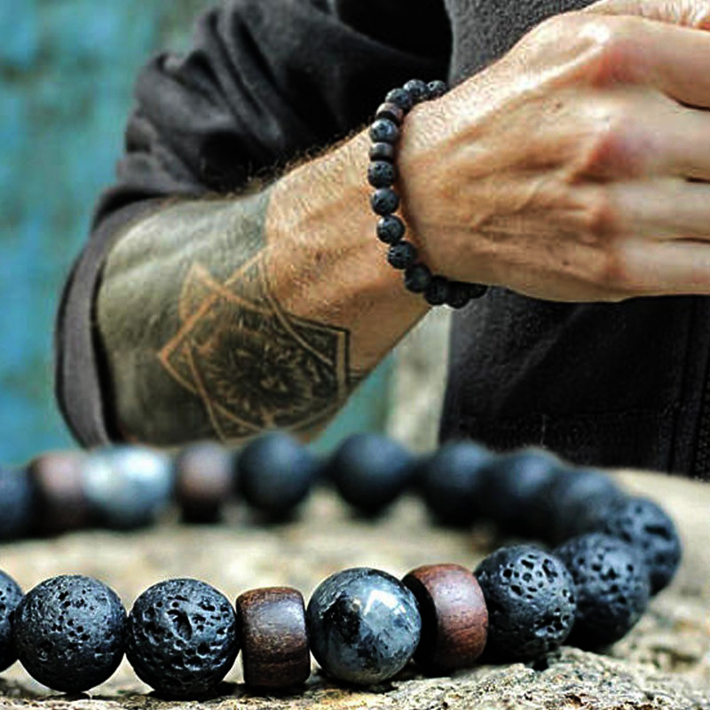 Natural Lava Rock Stone Beads Strand Bracelet Wooden bead Accessories Black Charm Stone Men Women Jewelry Gift