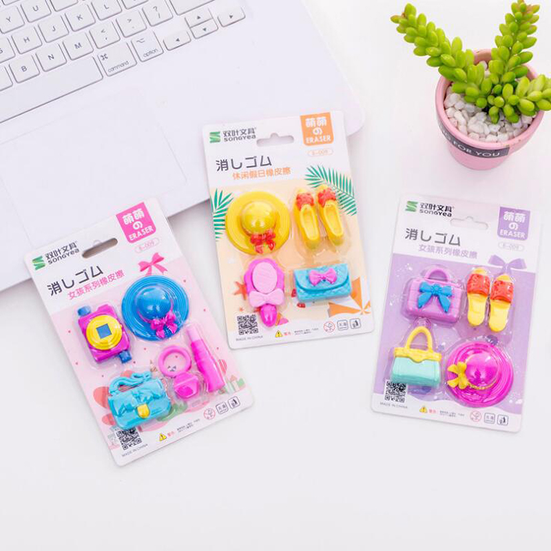 5 Pcs Hat High Heel Tote Cartoon Erasers Kindergarten Toy Creative Kawaii Eraser Funny Pencil Erasers Stationery School Supplies