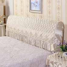 Fabric European leather bed with thick bright headrest Lace Bed Headboard Cover For Size 120 150