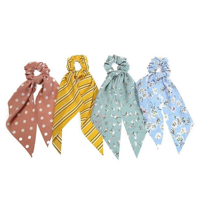 Anneau de cheveux pour femmes | Bandeau avec nœuds rayés et bandes de cheveux élastiques, foulard de cheveux style Boho, Scrunchies pour filles, accessoires pour coiffure, 2019