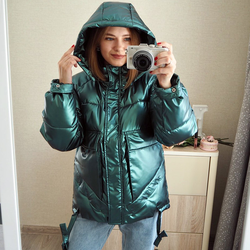 Winter women short parkas jackets casual female thicken warm hooded jackets coat windprood shiny big pocket jackets(China)