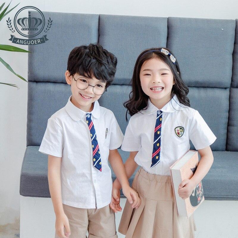 [Ann Fruit] Kindergarten Suit Summer New Style Short Sleeve Shirt Set Young STUDENT'S School Uniform