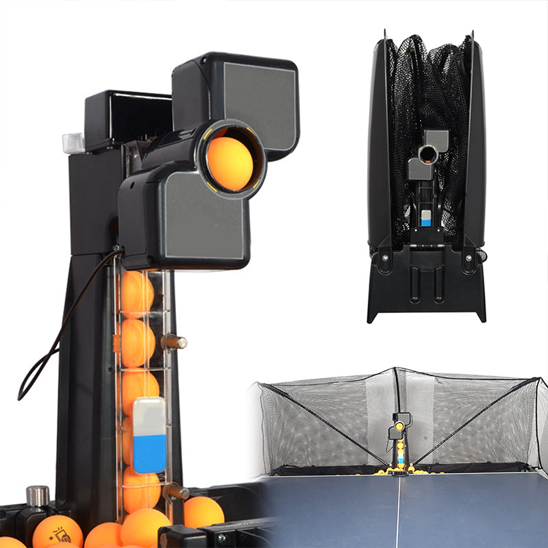80x34x34cm 50W Automatic Robot Table Tennis Ping-pong Ball Machine Practice Recycle With 100 Balls 0-9 Head Swinging Speed New
