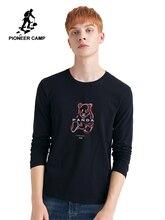 Camiseta de campamento Pioneer para hombre manga completa Panda gráfico Animal divertido cuello redondo estiramiento otoño Casual camiseta masculina ACT901308