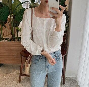Linen Womens Blouses Summer Tops Femme Casual Women Shirt Long Sleeve Cotton Oversize Girls Women Blouse New Blusas Loose 1