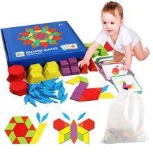 155 stücke 3d Holz Puzzle Frühen Kindheit Bildung Geometrische Tangram Holz Spiel Spielzeug für Kinder Montessori Lernen