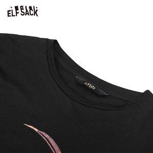 Image 4 - ELFSACK pamuk karikatür baskı çizgili tişört kadınlar 2019 sonbahar moda büyük boy rahat sahte iki parçalı Tee kore Punk T shirt