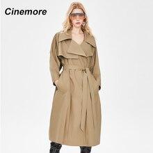 Cinemore frauen Jacken Lässig Einfarbig Zweireiher Outwear Mode Schärpen Büro Design Langen Graben Mantel Frauen 92226-1
