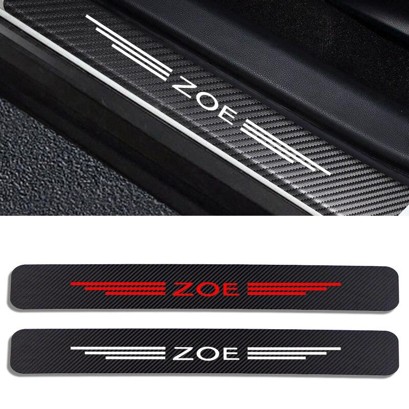4 шт. автомобильные наклейки на порог двери, Виниловый протектор для Renault ZOE, Накладка на порог автомобиля, защитная накладка, аксессуары для ...