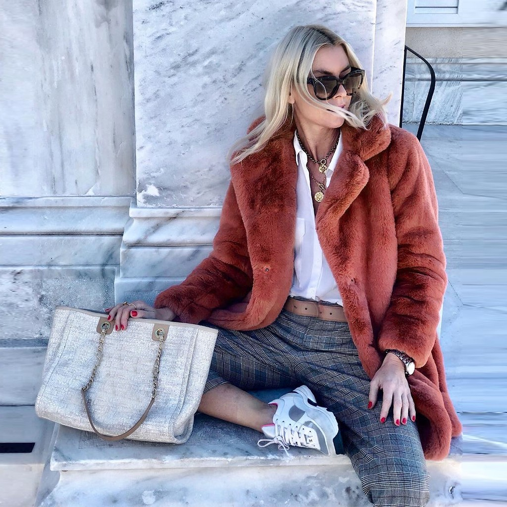 H52766744f0474008b460655c8e39a1abd New Winter Womens Faux Fur Long Outwear Coat Warm Fleece Thick Jacket Ladies Long Plus Size Cardigan Overcoat