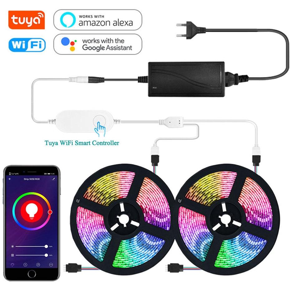 RGB LED Strip Light With Tuya Smart Life APP Wifi Controller DC12V 5050 60leds/m LED Flexible Strip Work With Alexa Google Home